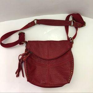 The Sak Red Leather Silverlake Crossbody Fringe